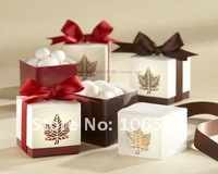 FREE SHIPPING- 2pcs Favour Burgundy and  Brown Gift Box favor candy box Wedding Party Supplies(50pcs)