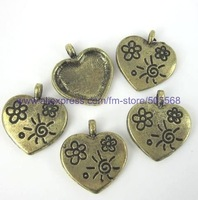 free shipping 42 pcs/lot,wholesale fashion lovely heart charms antique bronze charms jewelry charms jewelry accessories