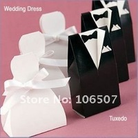 Quality Guarantee! FREE SHIPPING-50 sets(100pcs) Tuxedo and Gown Favour Favor Gift Box Candy box Wedding Supplies