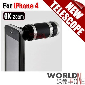 FREE SHIPPING!!! 6X Optical Zoom Lens Mobile Phone Telescope Camera for iPhone 4 4G 10pcs/lot (WF-IP4T10)