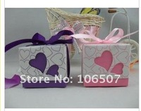 2011 NEW Quality Guarantee! FREE SHIPPING-200PCS double heart 2pcs Favour Gift Box candy box-Wholesale and retail