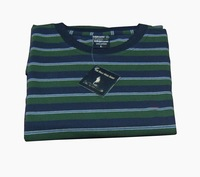 100%cotton men round neck Striped short-sleeved t shirt free shipping green