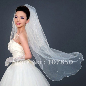 discount!1T ivory lace long bridal WEDDING VEILwholesale&retail wedding veils,2011 fashion bridal veils,overlock veils,one-layer