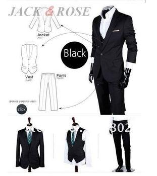 Promotions!! Men's Suit/Men's Casual Slim fit Skinny business suits three-piece(coat+vest+pant)/Men Suits/Black,white,grey