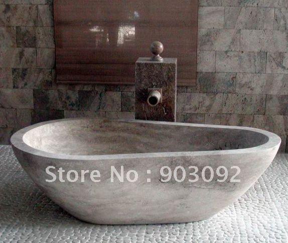 Classique baignoire en pierre travertin baignoire de haute for Prix baignoire en pierre