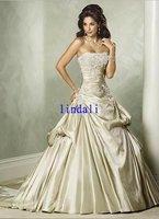 Wholesale Taffeta ivory  wedding dress long train free shipping