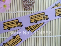"Free shipping 7/8"" School Bus Grosgrain ribbon Purple Ribbon sewing tape,jacquard ribbon"