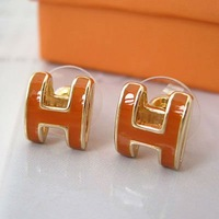 Guaranteed 100% brand new H shape stainless steel fashion earring+ free shipping
