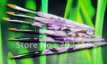 1 set (6pcs) Nail Art Brush Set for Acrylic nail - Marble Handle - Size 2 4 6 8 10 12 - Free shipping