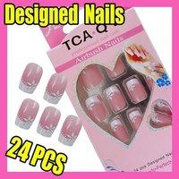 Fast & Free Shipping Cute 24 New Designed Nail Art Fake False Tips Pink F312