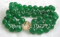 10mm natural perfect round green jade bracelet+FREE SHIPPMENT