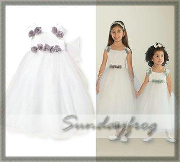 Free Shipping Custom Made Ball Gown Flower Girl Dress Floor-length Organza First Communion Dress Party Dress -FL63