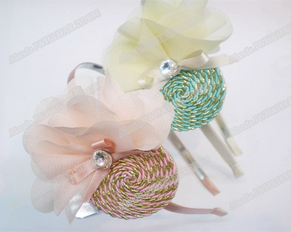 12pcs/lot, fashion cord wired chiffon flower headband AJB-0002, free shipping(pink, blue)(China (Mainland))