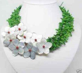 Charming new design green coral cameo flower necklace Fashion Free shipping