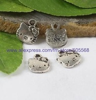 H4415 free shipping 500pcs/lot,wholesale kitty lovely kitty charms tibetan silver charms jewelry charms jewelry accessories
