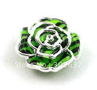 FREE SHIPPING 30PCS Green/black Metalized Plastic rose Shoe Flower #20493