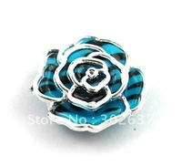 FREE SHIPPING 30PCS Blue/black Metalized Plastic rose Shoe Flower #20495