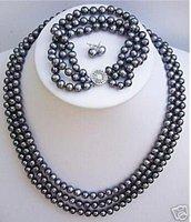 Black Freshwater TAHITIAN Pearl Necklace Bracelet Earrings AKOYA Free shipping
