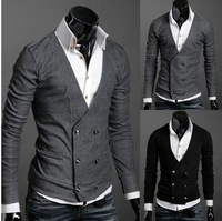 Free Shipping Men's Knitwear Cardigan Double Breasted Slim Casual Sweater Coat M L XL Retail & Wholesale Y01