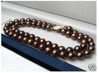Asian fashion natural chocolate pearl necklace 18'' Fashion AKOYA Free shipping