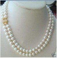 fine 7-8MM 14K GOLD DOUBLE STRAND AKOYA WHITE PEARL NECKLACE Fashion AKOYA Free shipping