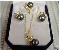 Black Pearl 14k GLOD Earring Ring & Necklace Pendant Set Fashion AKOYA Free shipping