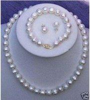 TAHITIAN salt water Pearl Necklace Bracelet Earring Set Fashion AKOYA Free shipping