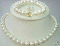 Genuine 7-8MM White Pearl Necklace Bracelet Earring Set Fashion AKOYA Free shipping
