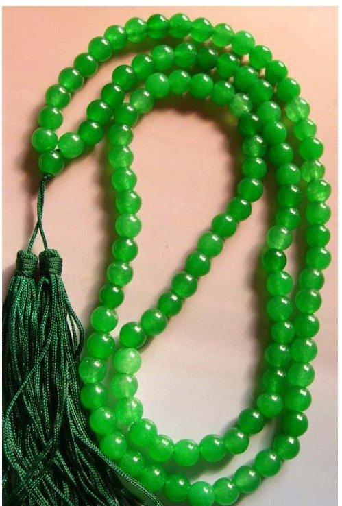 108 Oração Verde Jade Bead Tibet budista Colar Mala de 18 polegadas de cor Moda Frete grátis(China (Mainland))
