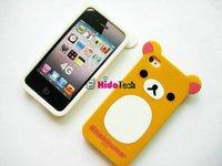 50pcsX Die Cut Cover Rilakkuma Case for iPhone 4, Bear Cartoon Case, Free shipping