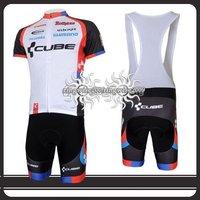 Free Shipping!! CYCLING JERSEY+BIB SHORTS BIKE SETS CLOTHES 2011 CUBE TEAM- WHITE-SIZE:S-4XL