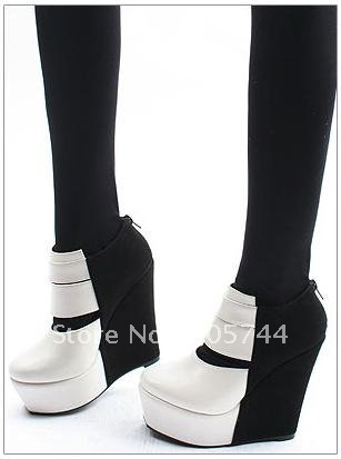 wholesale women's and ladies black white high-heeled boots hollow fish mouth waterproof wedge heel shoes boots high heels sand(China (Mainland))