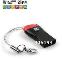 MicroSD T-Flash TF M2 Memory Card Reader ,USB 2.0  100 pcs/lot  EMS free