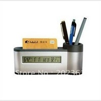 New arrival hotselling freeshipping 80pcs/lots Business Card Pen Holder LCD Digital Alarm Time Clock