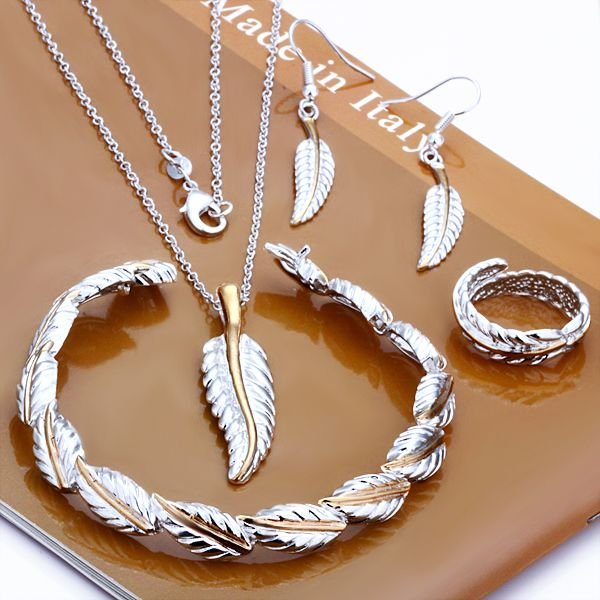 Free shipping 925 silver jewelry silver / gold -plated leaf style bracelet & necklace & earrings &ring wholesale set FS654(China (Mainland))