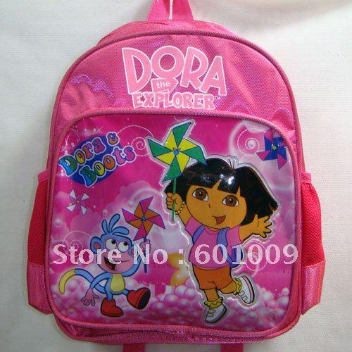 Grátis frete EMS alta qualidade Nylon Dora the Explorer Dora mochila escolar criança Bag 2 atacado(China (Mainland))