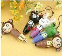 100pcs/lot Wooden cartoon animal carry-on pen ball-point pen