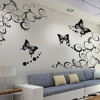 New 2014 Free shipping!!5pcs/lot105*100cm Black Butterfly style wall sticker wall sticker