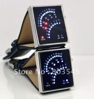 5PCS/Lot Free Shipping Fashion 2012 Hot selling 29 super bright LED lights fan-shaped LED Watch ,binary led digital watch