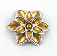 FREE SHIPPING 30PCS Khaki Metalized Plastic links Shoe flower #20522