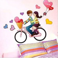 New 2014 Free shipping!!20pcs/lot33*60cm Valentine cycling pattern wall sticker wall sticker