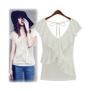 T / T camisa de algodão de moda / lotus das mulheres brancas de manga deixa 1pcs confortável camisa VT profunda + Frete Grátis(China (Mainland))