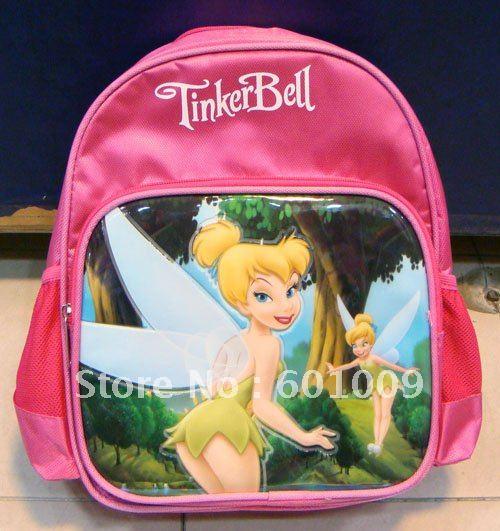 O envio gratuito de alta qualidade Nylon Tinkerbell fada mochila escolar criança Bag atacado e varejo(China (Mainland))