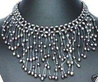 Black pearl pendant necklace chain