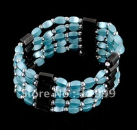 free shipping fashionable magnetic beads and blue glass beads magnetic bracelet or necklace/mix and match sold