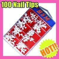 Fast & Free Shipping 5 sets x 100 pcs White False French Nail Art UV Gel acrylic Tip S091