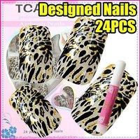 Fast & Free Shipping New Fashion Gold glittert Leopard logo Nail Art Tip + Glue S244