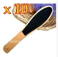 10PCS/LOT Wooden Foot Scrub Foot File Manicure Pedicure Care File Foot Care Free EMS Shipping