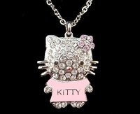 Free shipping by HK post! Wholesale crystal kitty charm pendant necklace 27inch Lovely /Hello  Kitty jewelry .Alloy jewelry HL15