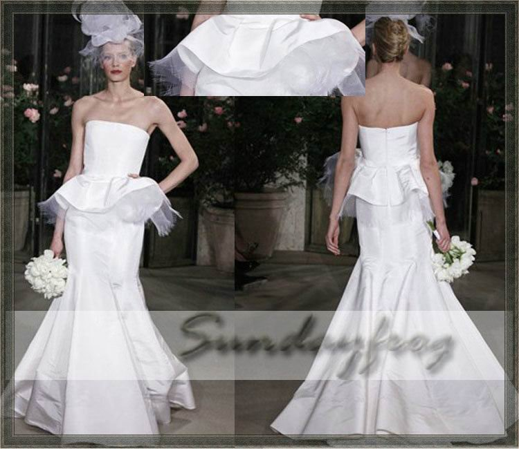 Free Shipping Custom Made Taffeta Ruffle Ruched Mermaid Wedding Dress -OD2(China (Mainland))